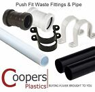 Push Fit Waste Plumbing - Pipe, Straight Connectors & Clips in 32mm or 40mm