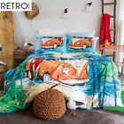 3 Pce Retro Home Oasis Kombie Van Duvet Quilt Doona Cover Set - QUEEN KING