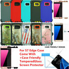 For Galaxy S7 Edge Defender Case w/Tempered Glass Screen (Clip Fits Otterbox)