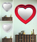 Wall make-up mirror glass heart design baroque white red silver bath bedroom