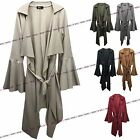 Womens Ladies Italian Belted Long Bell Sleeve Ruffle Waterfall Cardigan Jacket