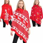 Womens Ladies Christmas Xmas Reindeer Snow Flakes Knit Collard Poncho Shawl Cape
