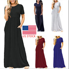 Plus Size Womens Short Sleeve Maxi Long Loose Dress Solid Party Shirt Dress