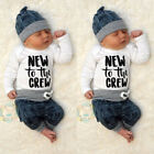 Baby - Newborn Kid Baby Boy Girl 3pcs Clothes Jumpsuit Romper Long Pants Hat Outfit Set