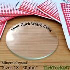 Flat Mineral Crystal Watch Glass Face Lens Replacement Sizes 18.00 mm - 50.00 mm