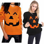 Womens Ladies Mens Unisex Pumpkin Print Halloween Knitted Jumper Top Sweatshirt