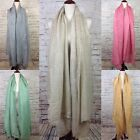 Oversized Linen Women's Men's Blanket Scarf Wrap Fringe Lightweight Shawl Thin