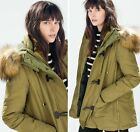 Authentic Zara Warm Winter Duffle Coat Jacket Anorak With Hood And Faux Fur New