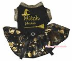 Witch Hat Broom Halloween Black Top Gold Pumpkin Cobweb Tutu Pet Dog Puppy Dress