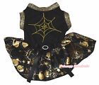 Spider Web Halloween Black Top Gold Pumpkin Cobweb Tutu Pet Dog Puppy Dress Bow