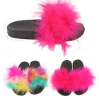 Kids Girls Furry Fluffy Pom Sliders Flats Shoes Slippers Mules Flip Flops Size