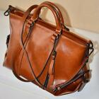 Fashion Lady Brown Color Handbag Women Oiled Leather Shoulder Bag Tote Purse US