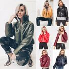 Womens Ladies Zip Up Long Sleeve Cropped Puffer Bomber Biker Jacket Coat Top