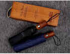 Внешний вид - Men Three Fold Strong Resistance To Wind Automatic Umbrella Solid Wooden Handle