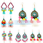 Bohemian Women Rhinestone Bead Long Tassel Dangle Hook Earrings Ear Stud Jewelry