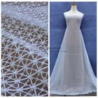 New high quality off white square beaded embroidered lace fabric 51'' width