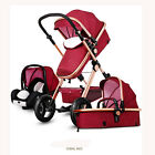 New Foldable Portable High View 3 in1 Baby Stroller Pushchair Bassinet