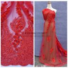 Red/Blue beaded pearls 3D flowers heavy handmade wedding lace fabric 51''