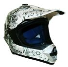Duchinni D305 Skull White Black Full Face MX Motorcycle Crash Helmet Brand New