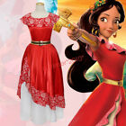 Adult Elena of Avalor Cosplay Costume Princess Elena Fancy Dress Girls Red Gown