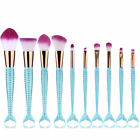 10Pcs Mermaid Pro Makeup Brushes Set Cosmetic Powder Eyeshadow Lip Foundation