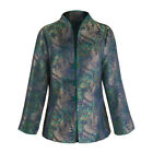 Iridescent Peacock Tapestry Stand Collar Jacket