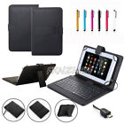 Micro USB Keyboard Folio PU Leather Case Cover For 7'' 8'' inch Android Tablet