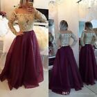 Vintage Long Sleeve Lace Wedding Evening Dress Formal Long Prom Party Dress