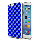 For Various Phones Design Hard Back Case Cover Skin - 3D Blue Squares