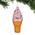 4057913 Dept 56 Pink Swirl Cone Glass Ornament Sprinkles Ice Cream Parlor Shop