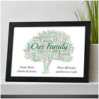 Personalised Family Tree Word Art Print Gift Keepsake - New Home Family Gifts