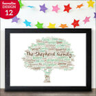 Personalised Family Tree Typography Picture Print Gift New Home Family Keepsake