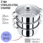 3 Tier Stainless Steel Steamer - INDUCTION friendly Cookware 28cm 30cm 32cm