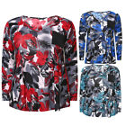 Plus Size Women V Neck ITY Printed Top With Pocket