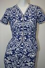 NEW Oscar de la Renta SET Of Filigree Lace Knitted DRESS & Jacket Blue White S