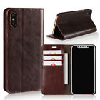 iPhone X XR XS MAX Genuine Leather Wallet Case Protective Cover 3 Card Holder UK