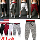 US 3/4 Knee Men Jogger Short Loose Casual Gym Harem Pants Cropped Trousers Sport