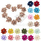 10pcs Rose Satin Ribbon Flower Rhinestones Appliques Craft Wedding Favor SFRN34