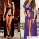 VALENTINE Womens Sexy Black Purple Long Lace Maxi Open Front Babydoll & G-String