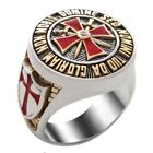 Knight Templar Masonic Ring 18k Gold Pld Red Cross Silver Handcrafted UNIQABLE