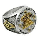 Handmade Masonic A.F.A.M Ring Mason All Seeing Eye Pyramid 18k Gold Pld UNIQABLE