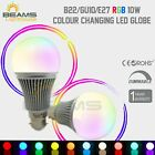 B22/GU10/E27 10W RGB LED Dimmable Light Bulb Globe Colour Changing Lamp + Remote