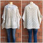 DEMOCRACY Nordstrom Sprinkled Beige Knitted Sweater Poncho Cape Retails $88