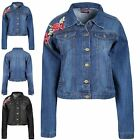 Ladies Womens Denim Jeans Rose Embroidered Pocket Faded Collared Button Jacket