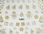 Gold Christmas! Nail Art Stickers Self-adhesive X'mas Angel Snowman Snowflake