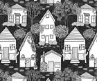 Wood Streets Riverside Homes Cottage Fabric Printed by Spoonflower BTY