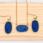 New Oval Druzy Pendant Necklace With Matching Drop Earrings Fashion Jewelry Sets