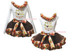 My 1st Gobble White Top Brown Turkey Satin Trim Skirt Girl Outfit Set NB-8Y