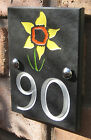Slate House Number Plaque with engraved motif