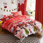 Santa Claus X-Mas Doona Duvet Quilt Cover Set Queen Size Bed Merry Christmas New